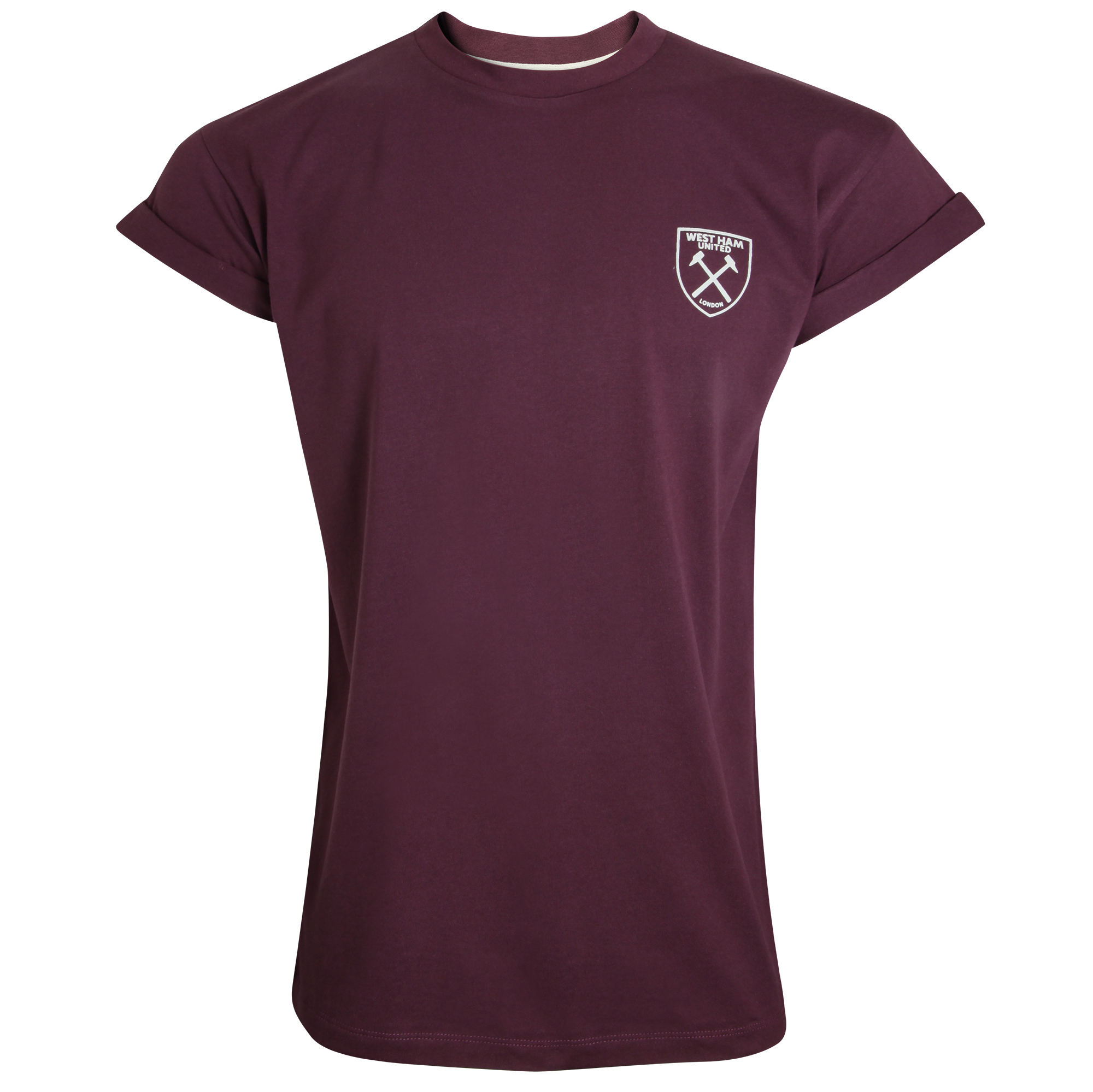 LADIES CLARET HAMMERS ROLL CUFF T-SHIRT