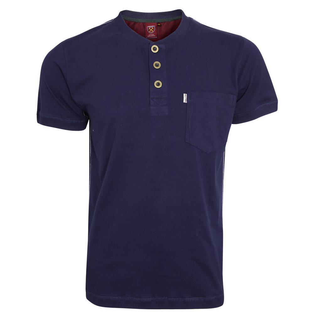 NAVY GRANDAD COLLAR T-SHIRT