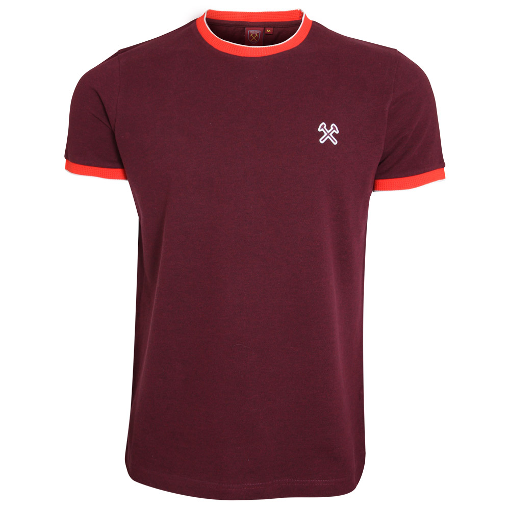 CORAL TIPPED CLARET T-SHIRT