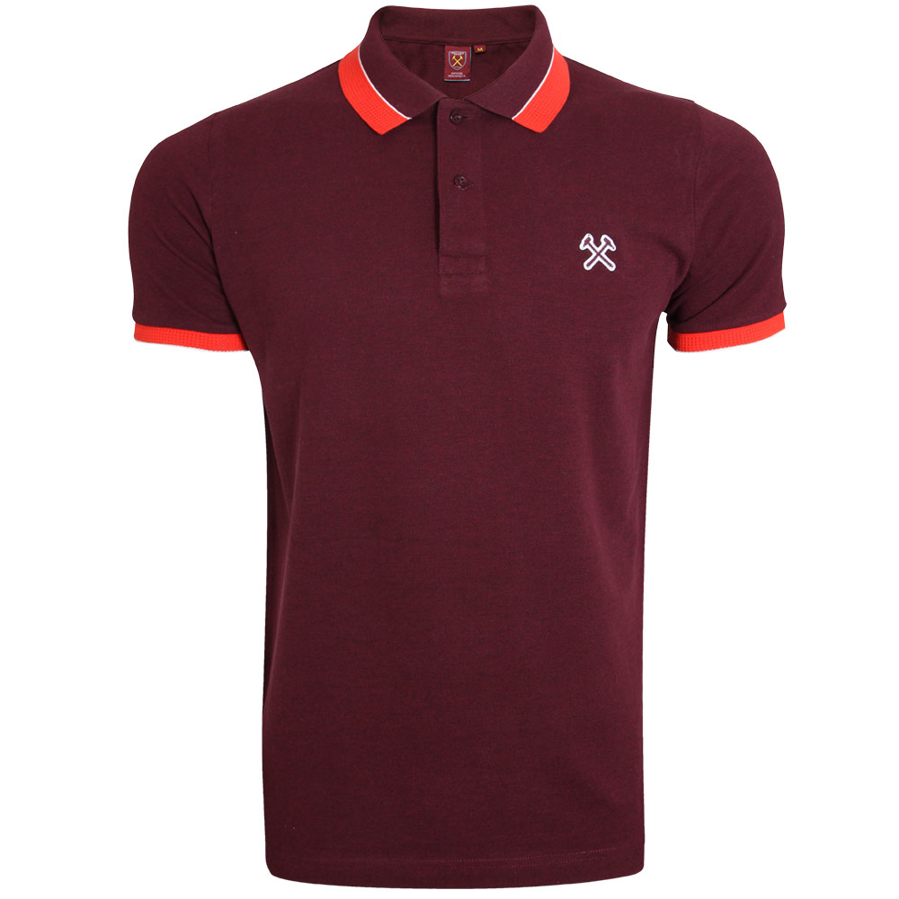CORAL TIPPED CLARET POLO