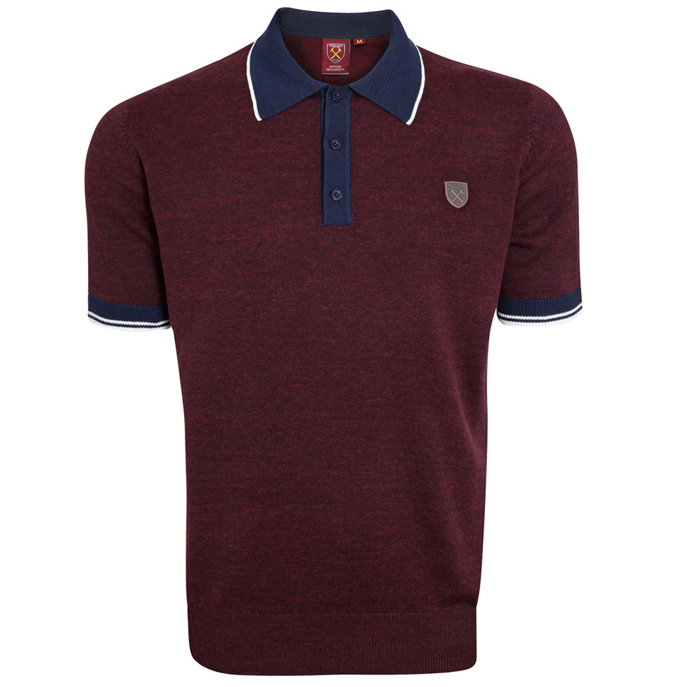 CLARET MARL KNITTED POLO
