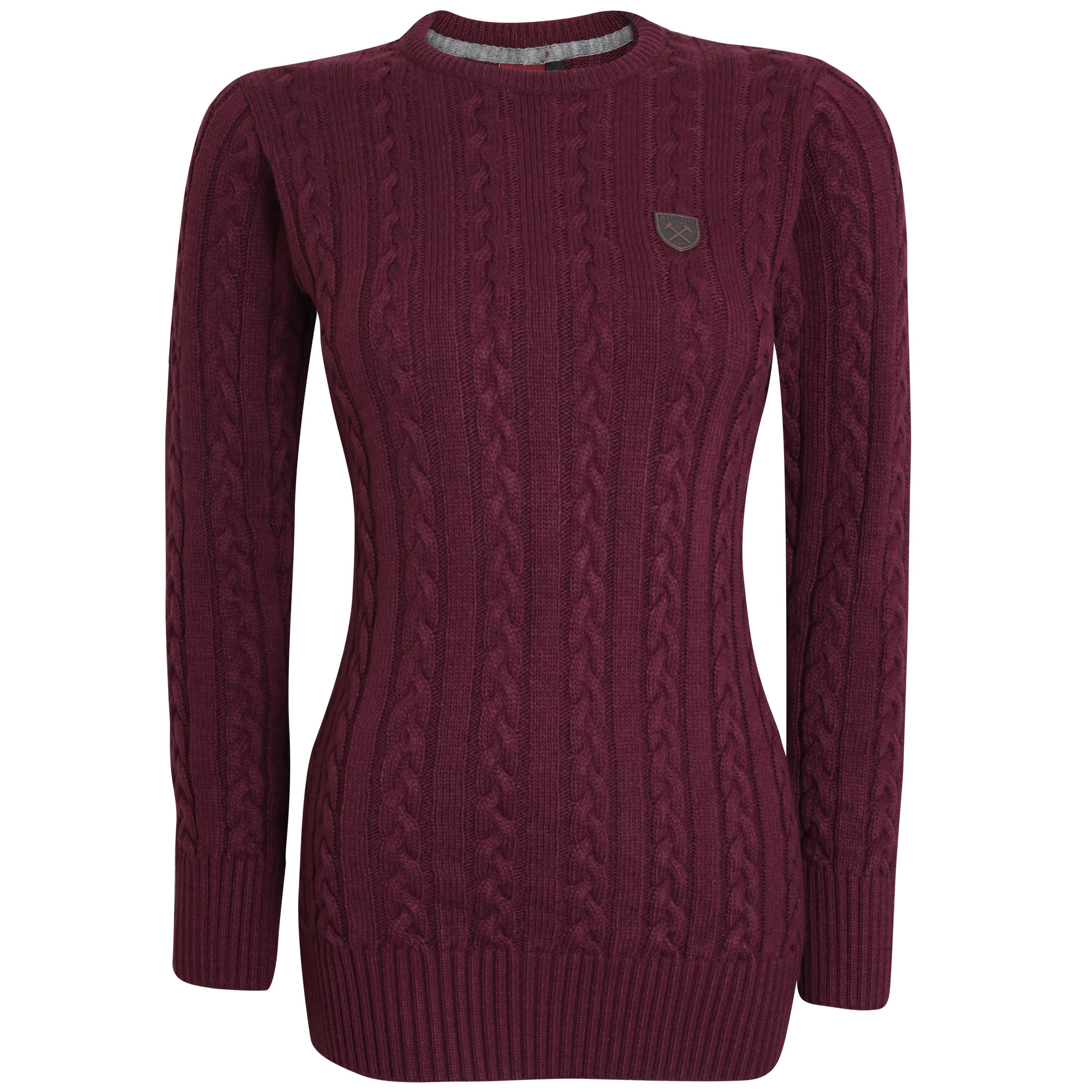 LADIES CLARET CABLE KNIT JUMPER