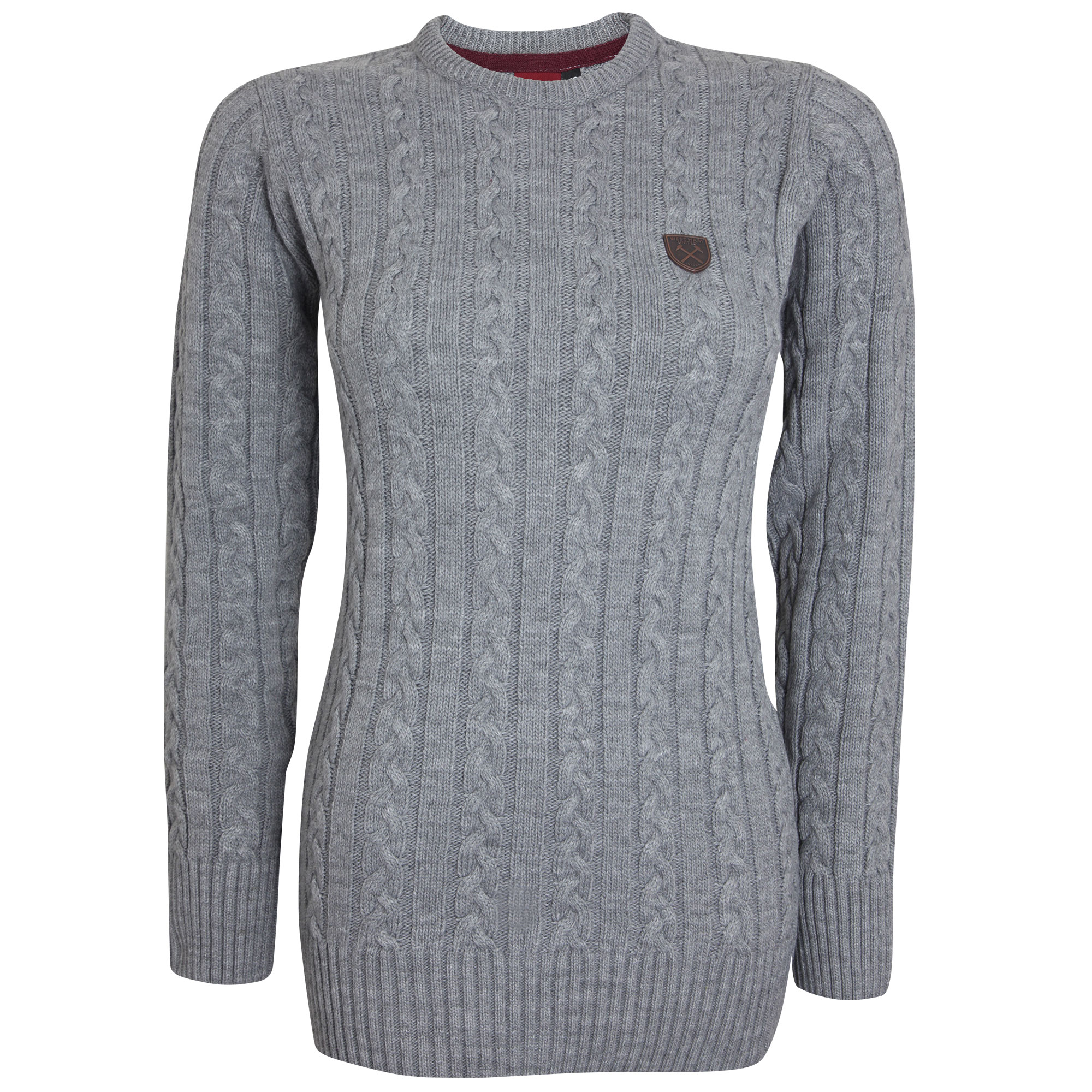 LADIES GREY CABLE KNIT JUMPER