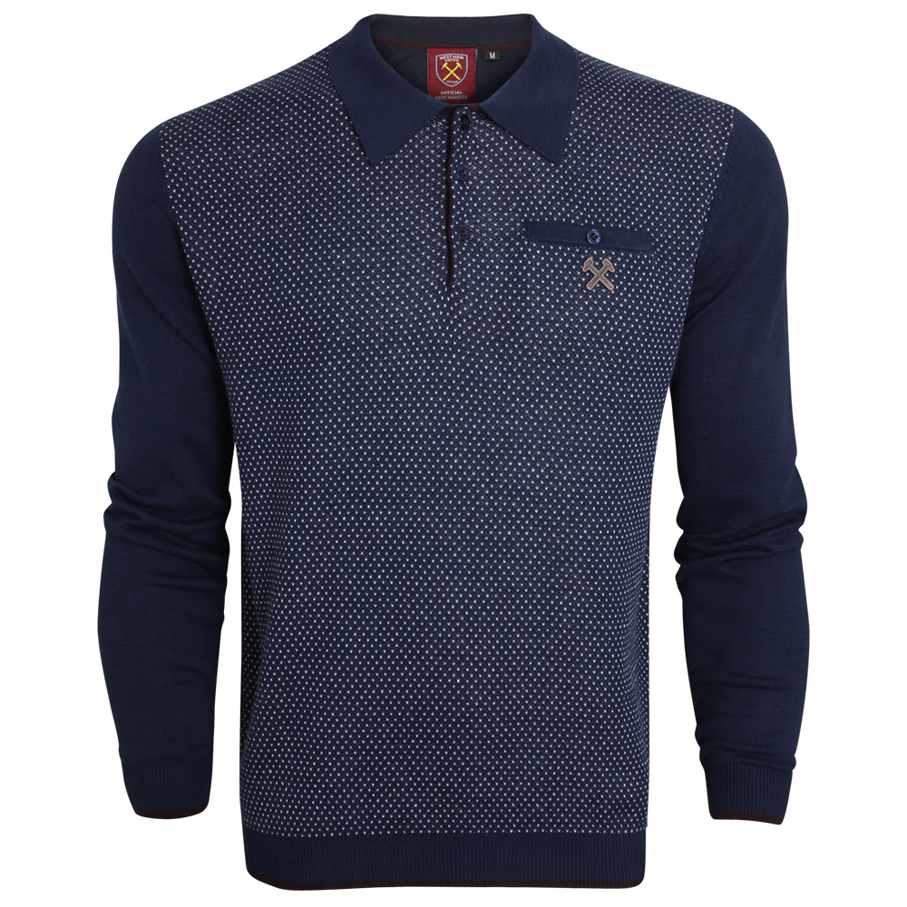 CLARET COLLECTION - NAVY TEXTURED FRONT POLO