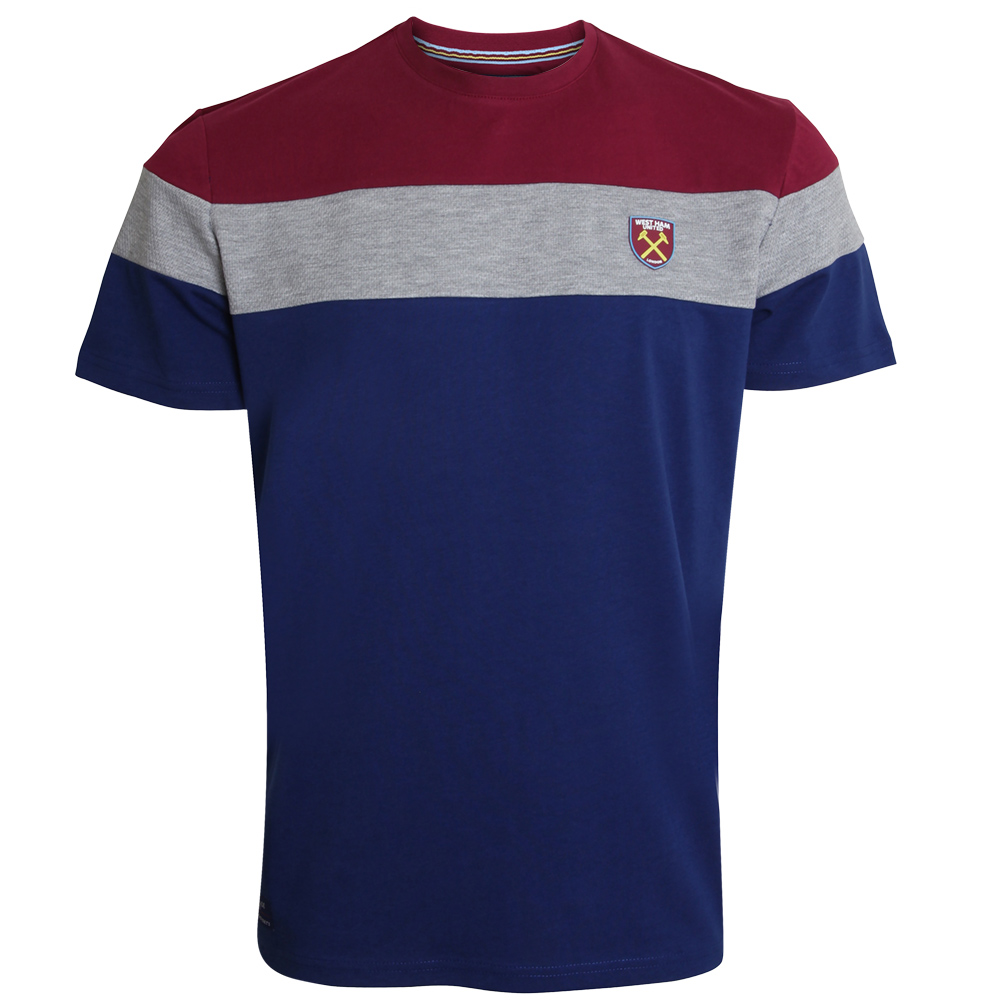 CLARET/NAVY BLOCK T-SHIRT