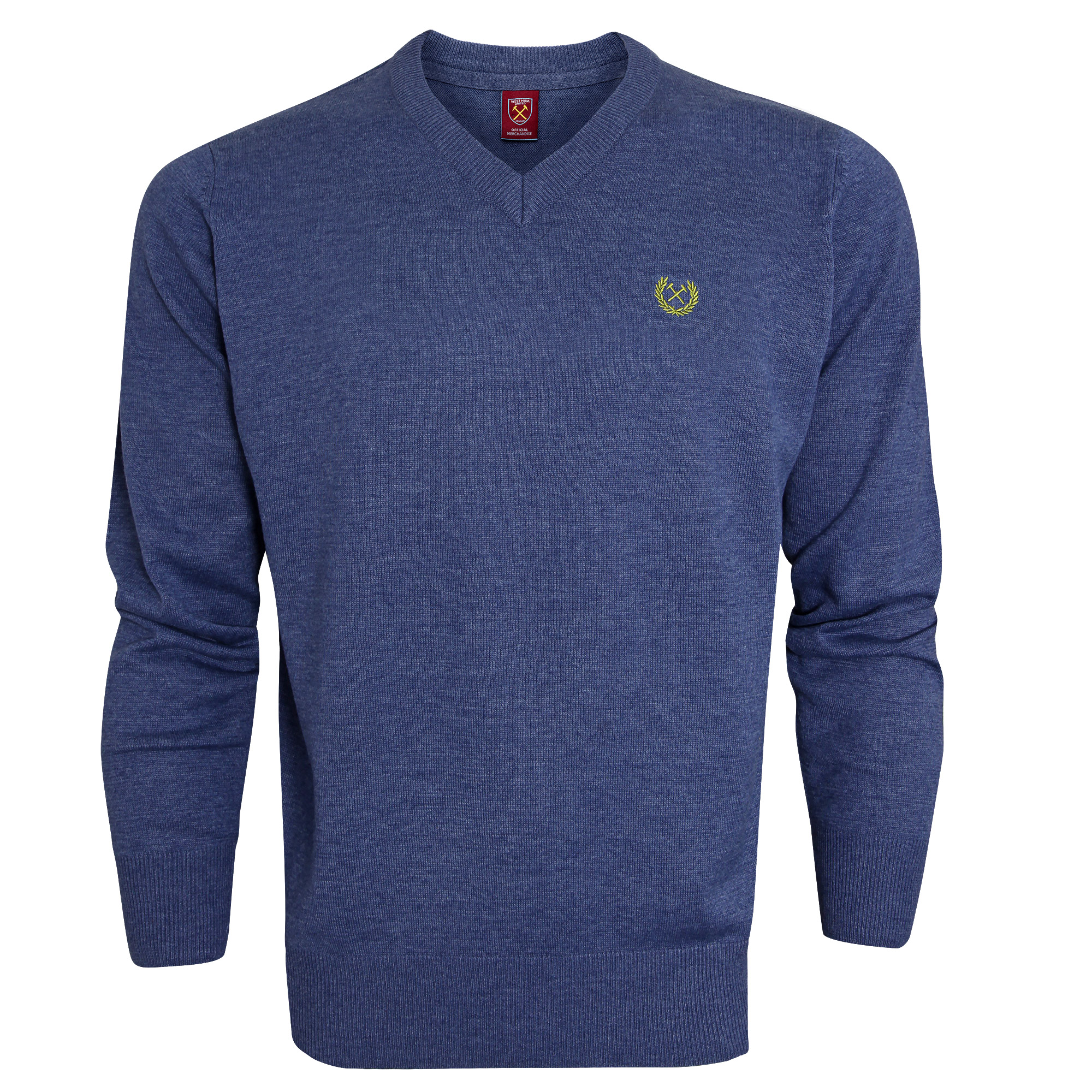 BLUE MARL V-NECK JUMPER