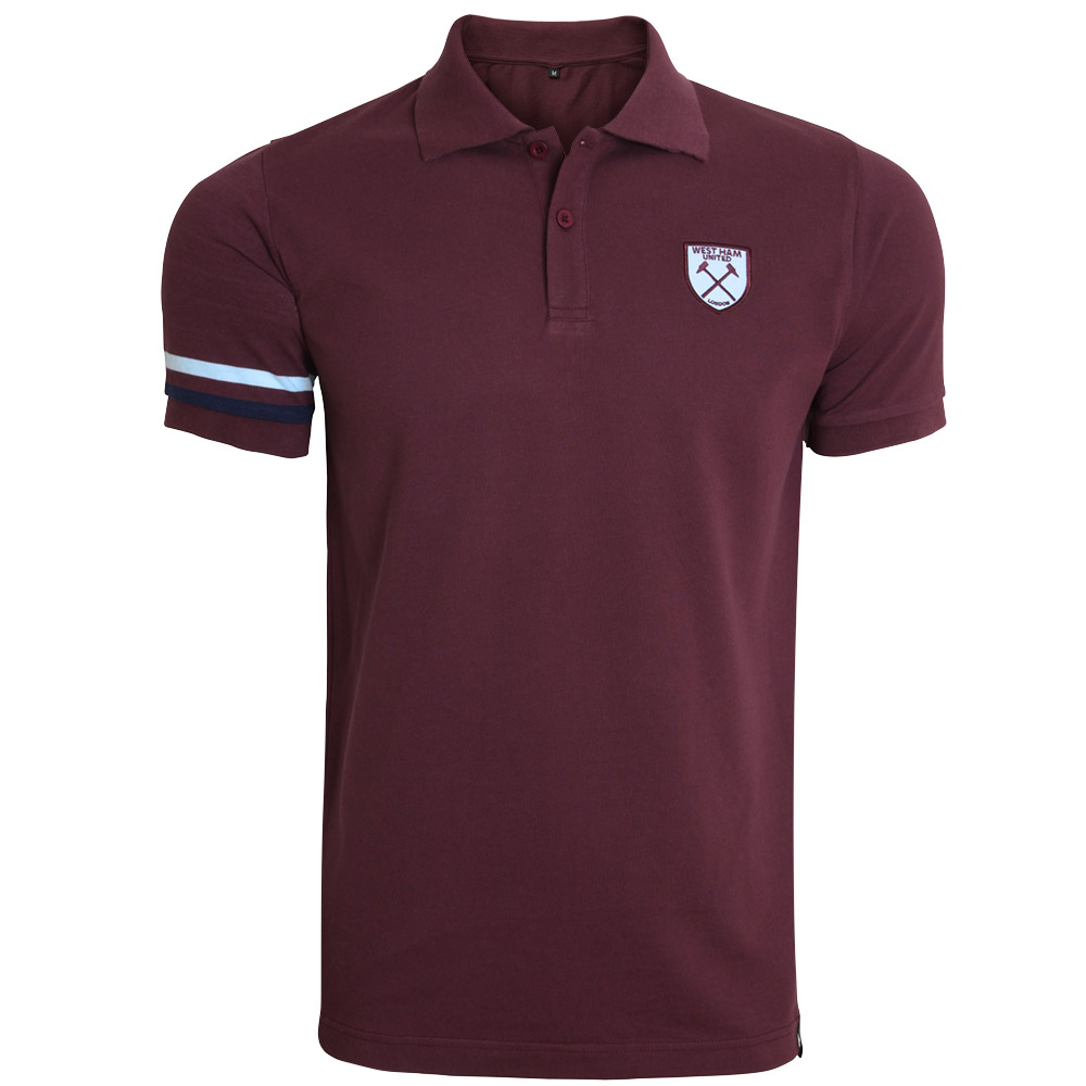 CLARET STRIPED SLEEVE POLO