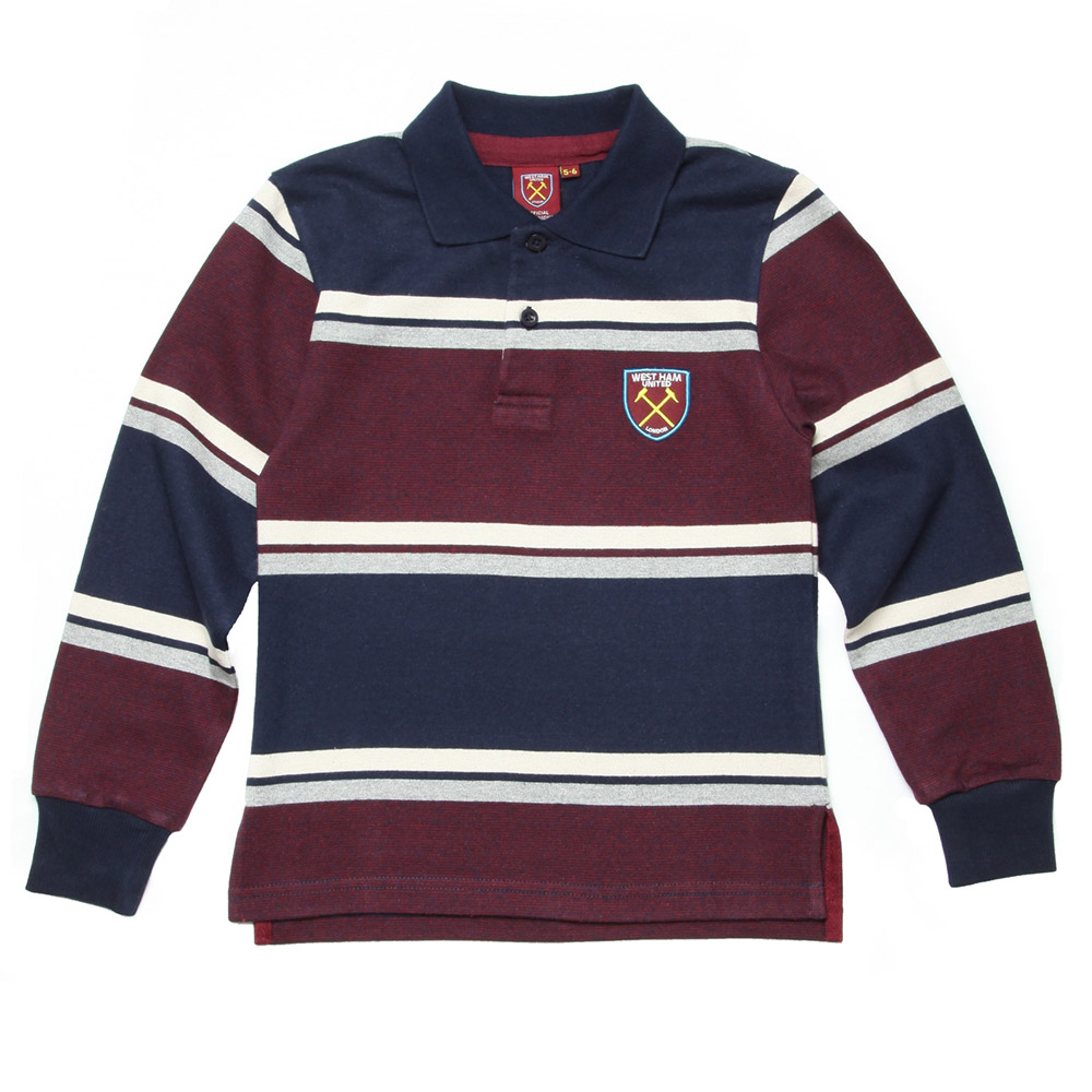 JUNIOR NAVY/CLARET STRIPED LONG SLEEVE POLO