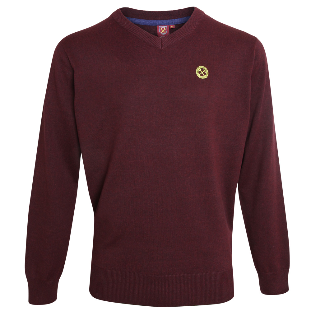 2440 - CLARET MARL V-NECK JUMPER