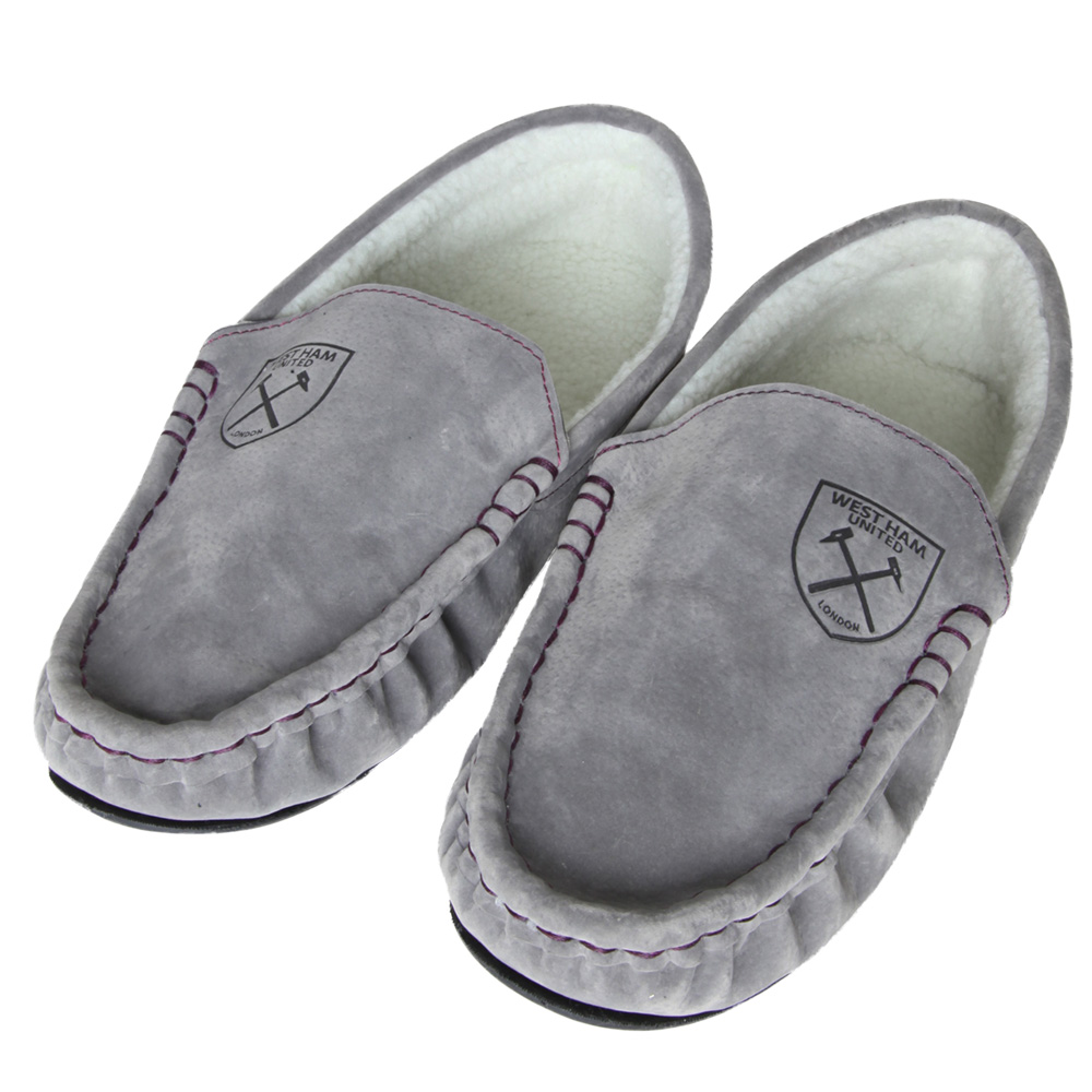 MENS GREY MOCCASIN SLIPPERS