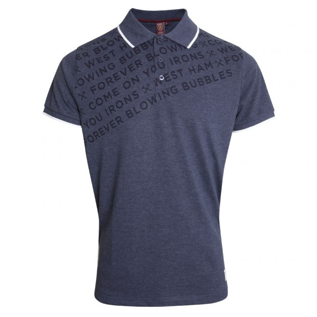NAVY TEXT POLO