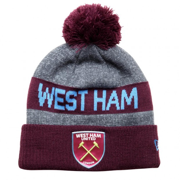 GREY CLARET WEST HAM BOBBLE HAT 9f23337a592a