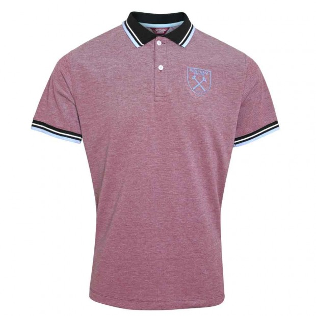 CLARET/GREY TEXTURED POLO