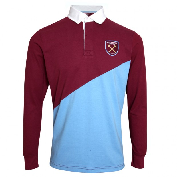 JUNIOR CLARET/SKY RUGBY POLO