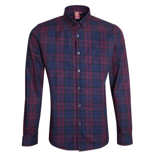 CLARET/NAVY CHECKED SHIRT
