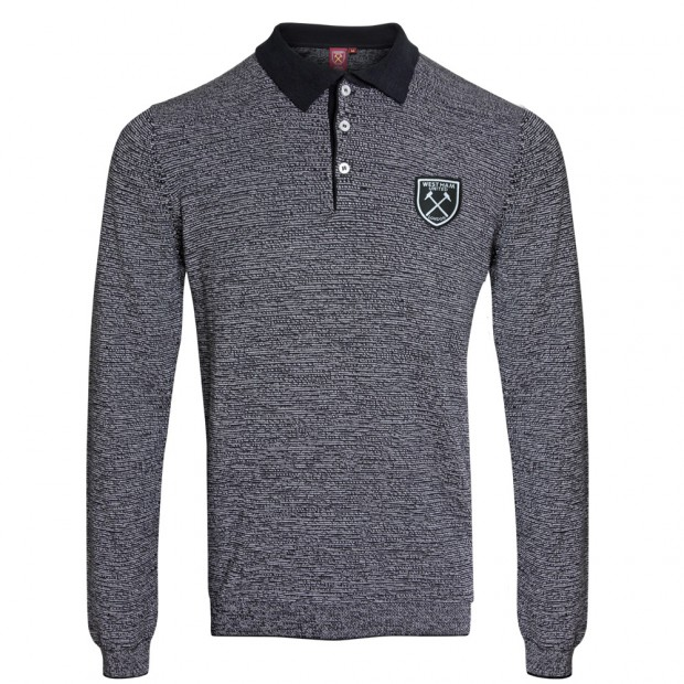 GREY KNITTED L/S POLO