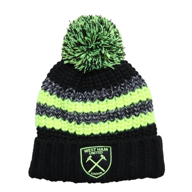 BLACK/FLUROESCENT YELLOW BOBBLE HAT