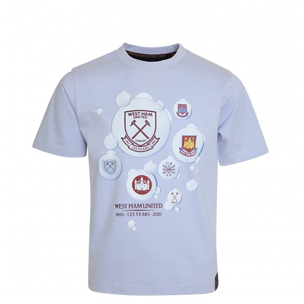WEST HAM 125-JUNIOR BUBBLES CREST HISTORY T-SHIRT