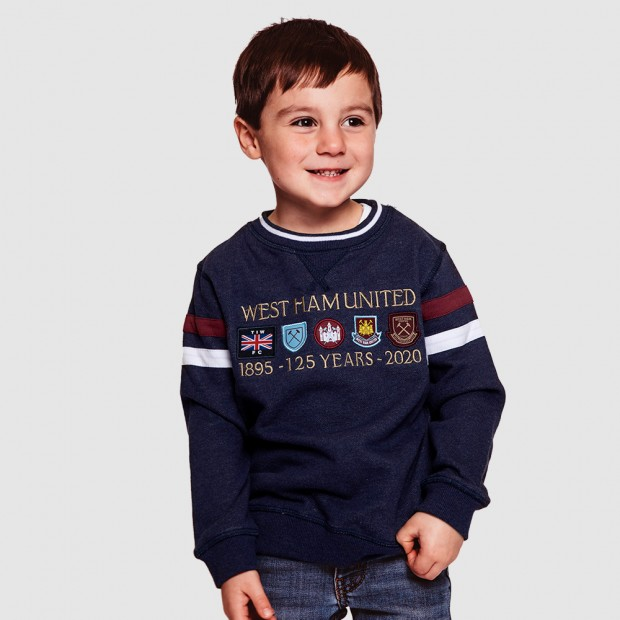 WEST HAM 125 - JUNIOR NAVY CREST SWEATSHIRT