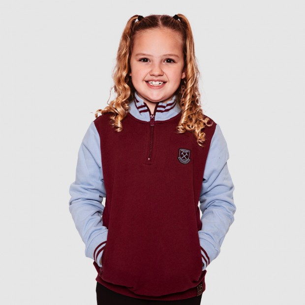 WEST HAM 125 - JUNIOR CLARET VINTAGE 1/2 ZIP TOP