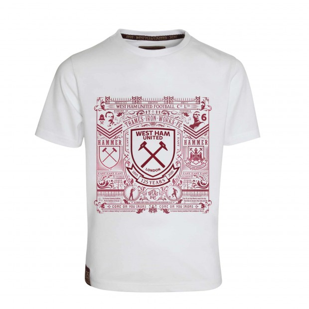 WEST HAM 125 - JUNIOR WHITE HISTORY PRINT T-SHIRT