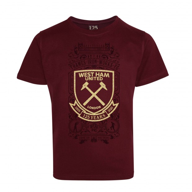 WEST HAM 125 - GIRLS CLARET T-SHIRT