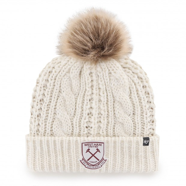 WEST HAM 125-WOMENS WHITE CABLE KNIT HAT