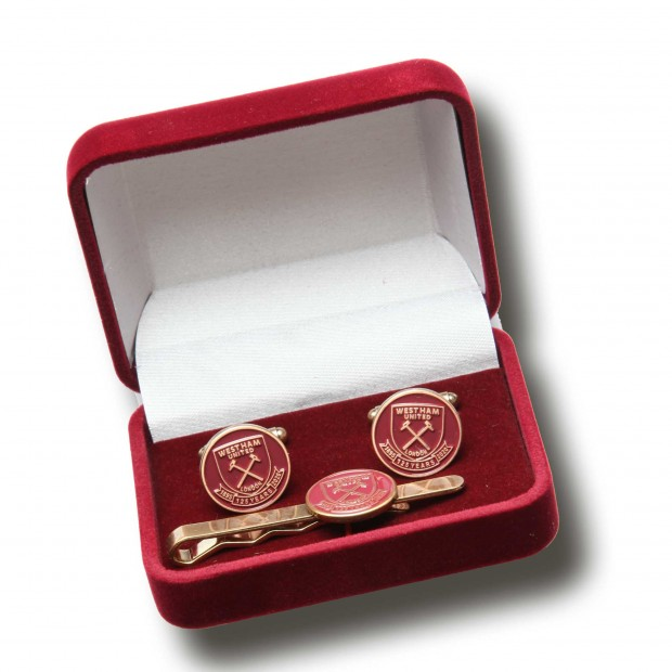 WEST HAM 125-CUFFLINK & TIE SLIDE SET