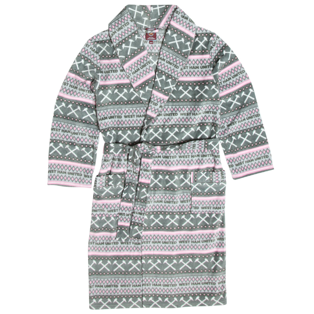 GIRLS GREY/PINK DRESSING GOWN