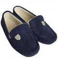 MENS NAVY MOCCASIN SLIPPERS