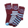 WEST HAM 125-JUNIOR 3 PACK SOCKS