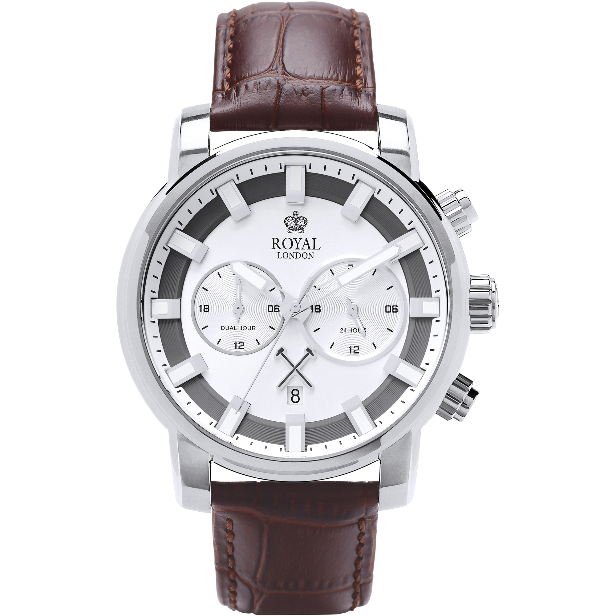ROYAL LONDON 4 SS MULTI FUNCTION WATCH BROWN STRAP