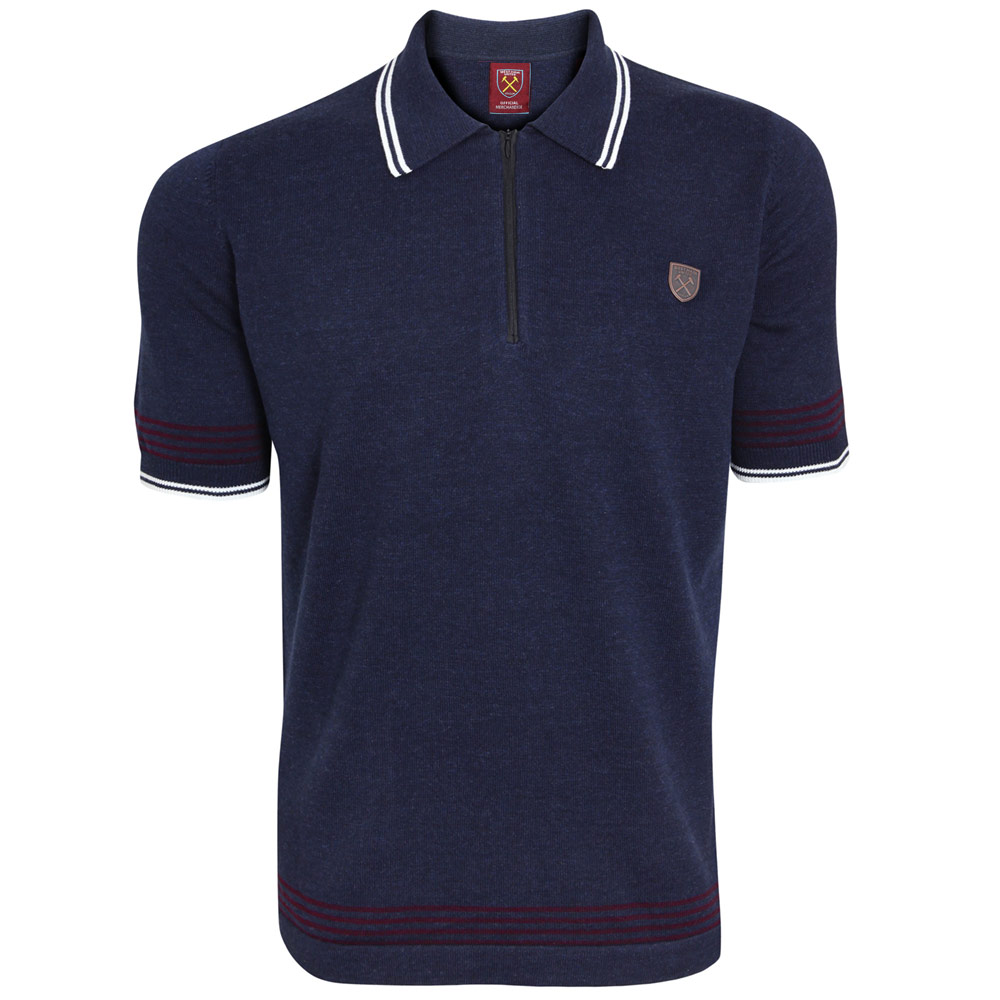 NAVY MARL KNITTED ZIP POLO