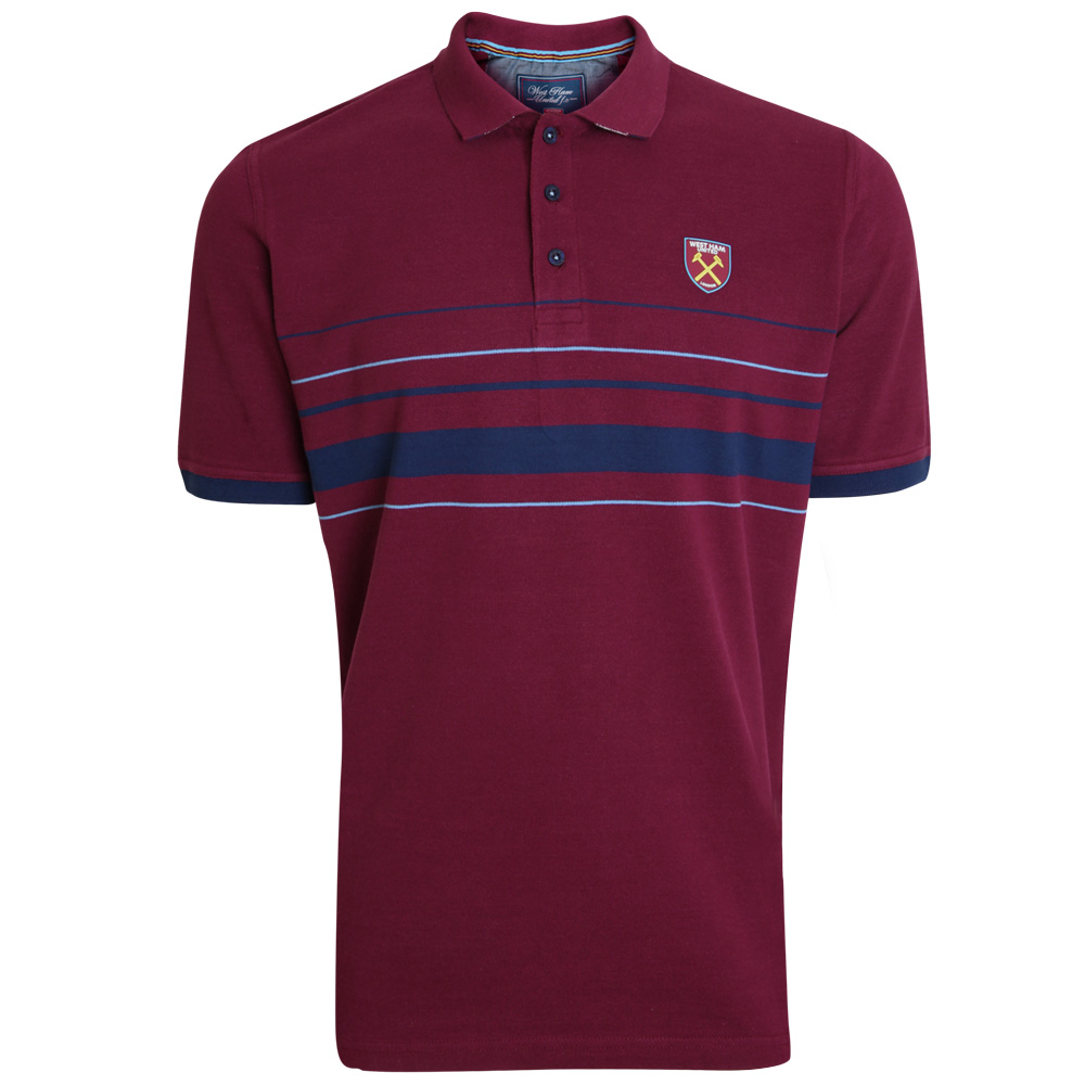 CLARET STRIPED WEST HAM COLLAR POLO