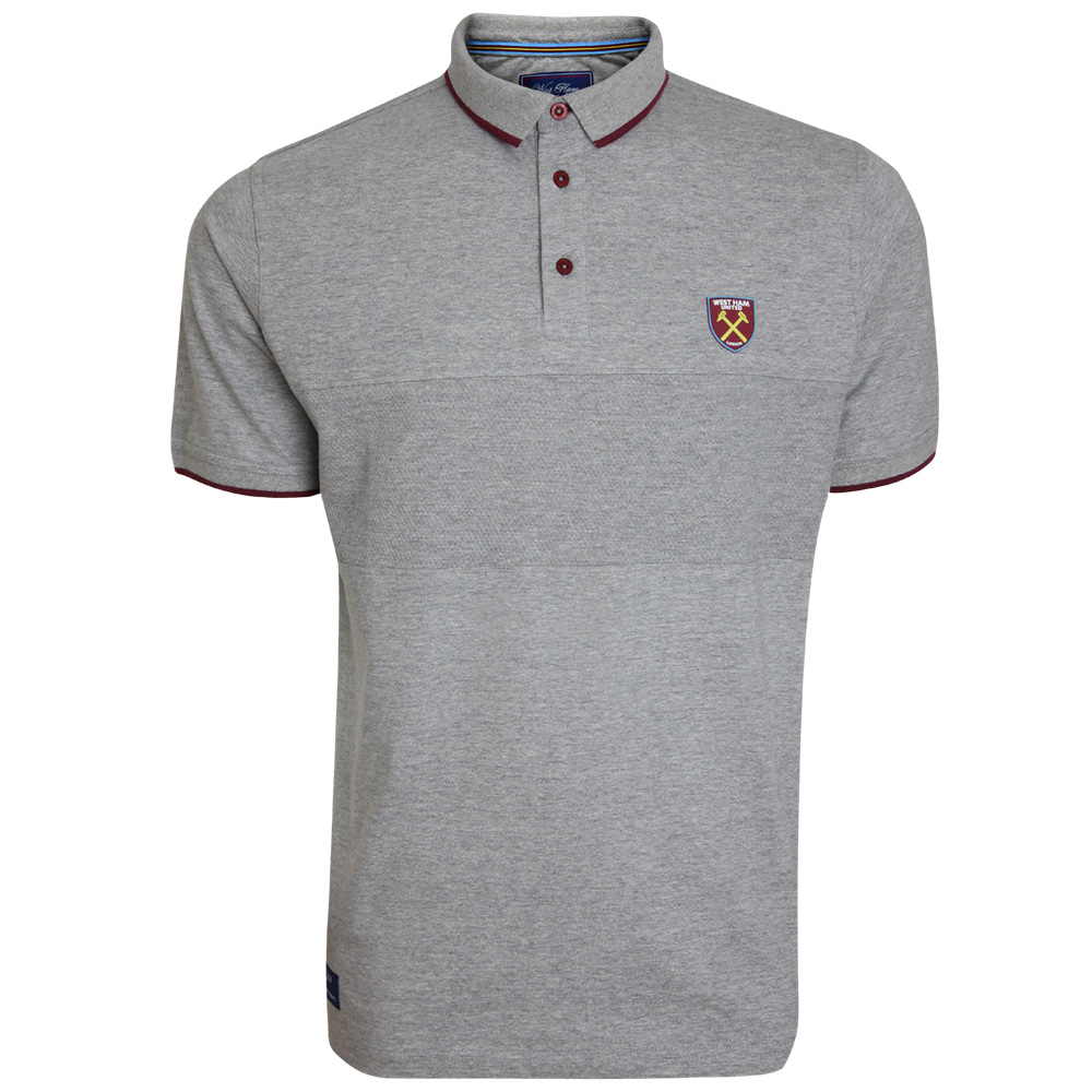 GREY PIQUE PANEL POLO