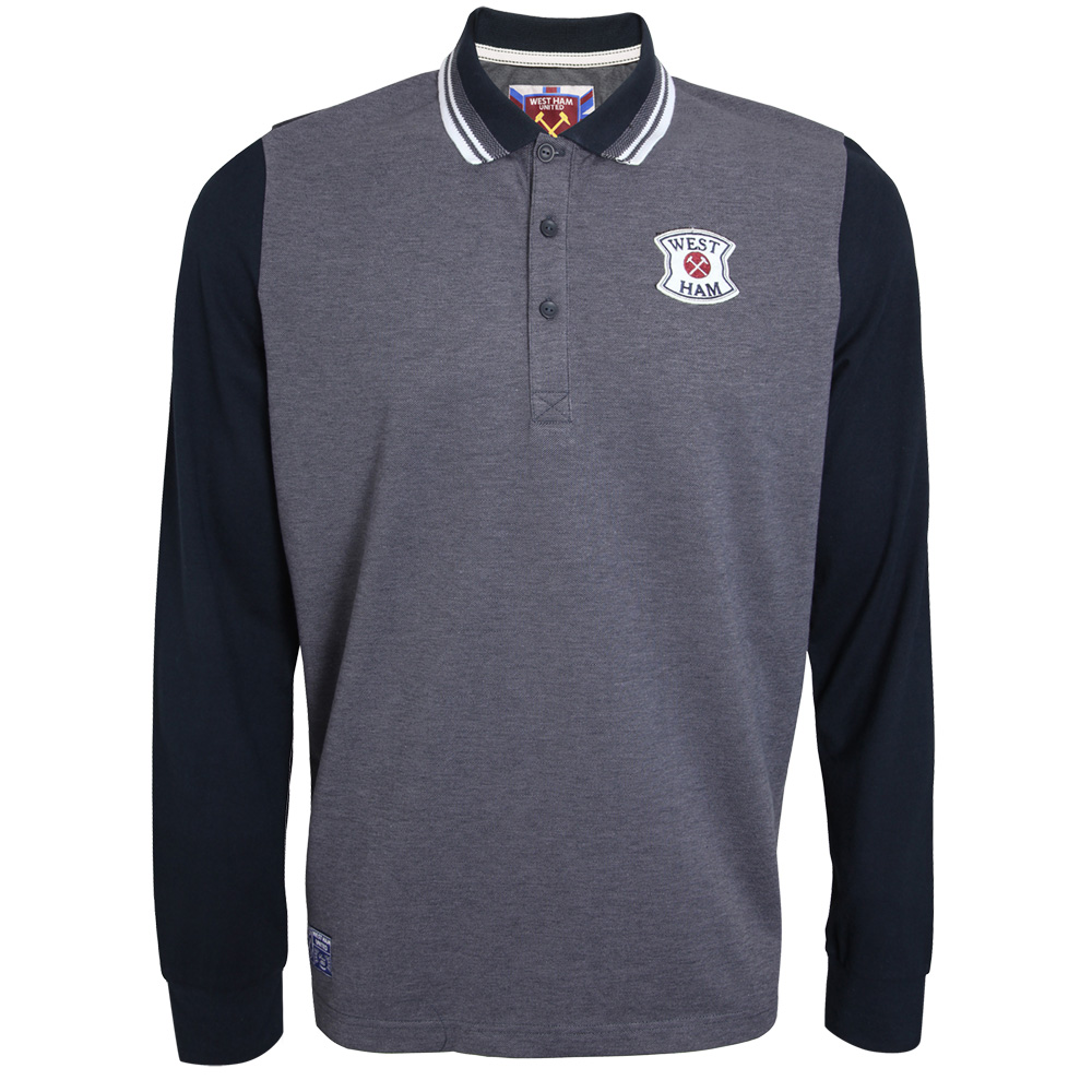 BLACK LONG SLEEVE CLARENCE POLO