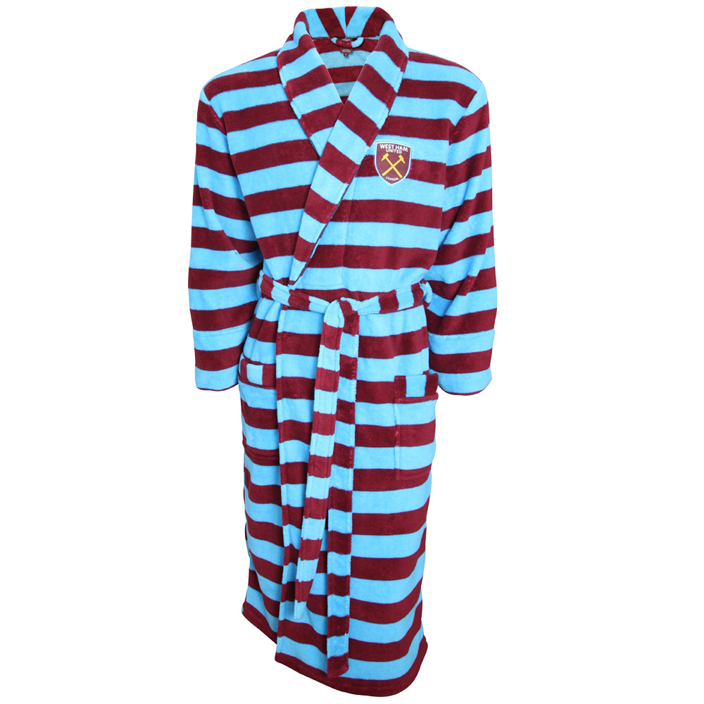 MENS CLARET/SKY STRIPED DRESSING GOWN