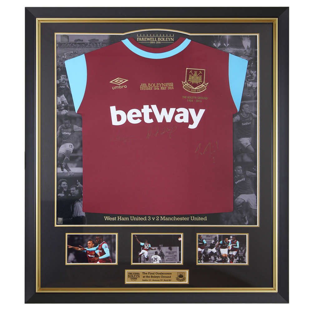FRAMED FINAL BOLEYN GOALSCORERS EMB. SHIRT