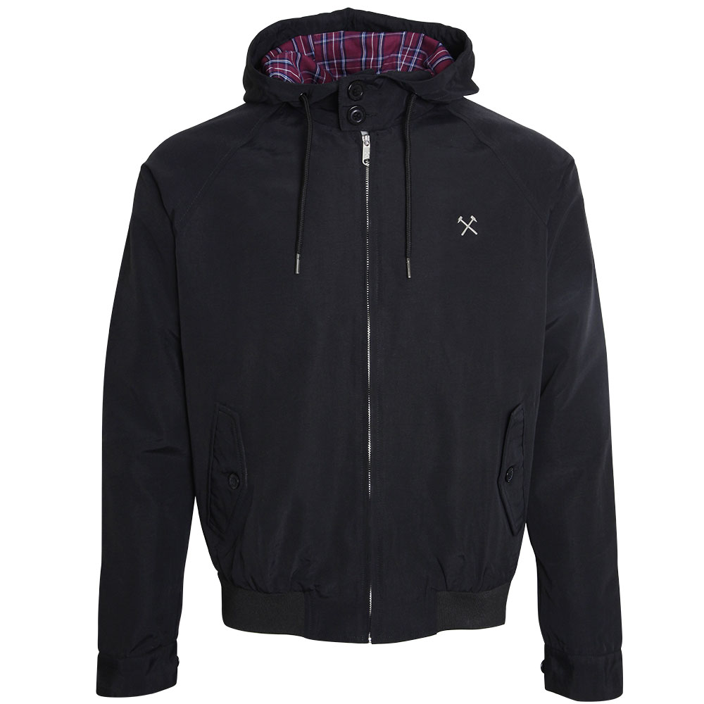 BLACK HOODED HARRINGTON JACKET