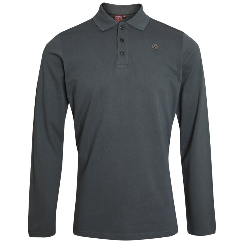 CLARET COLLECTION -  GREY LONG SLEEVE POLO