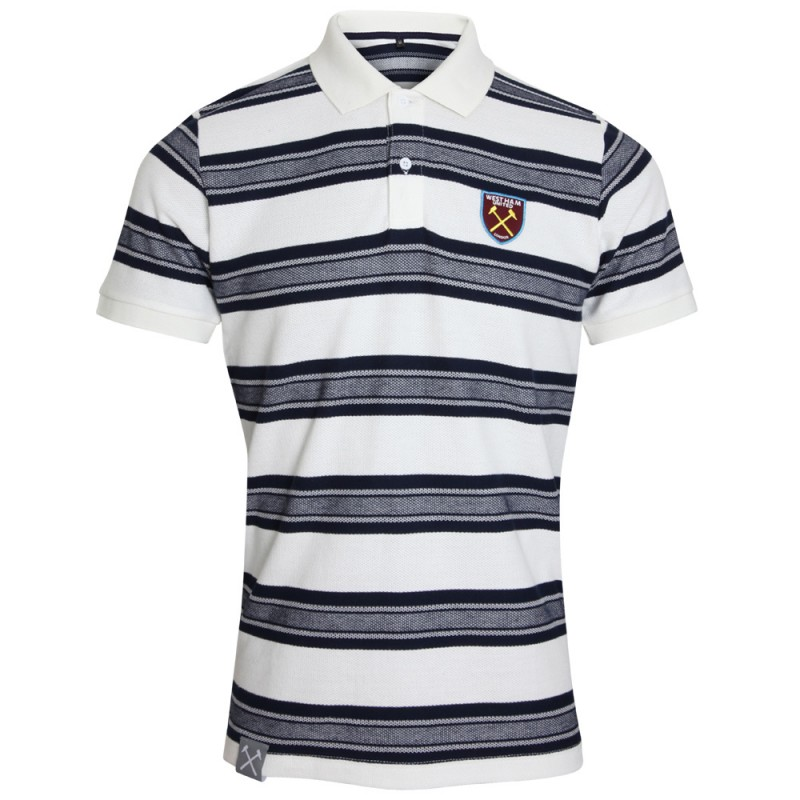 NAVY/WHITE STRIPED POLO
