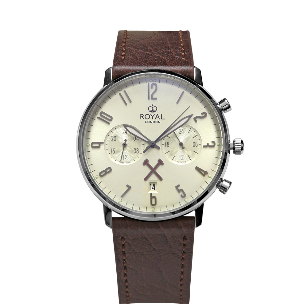 ROYAL LONDON 15 SS DUAL TIME LEATHER STRAP WATCH