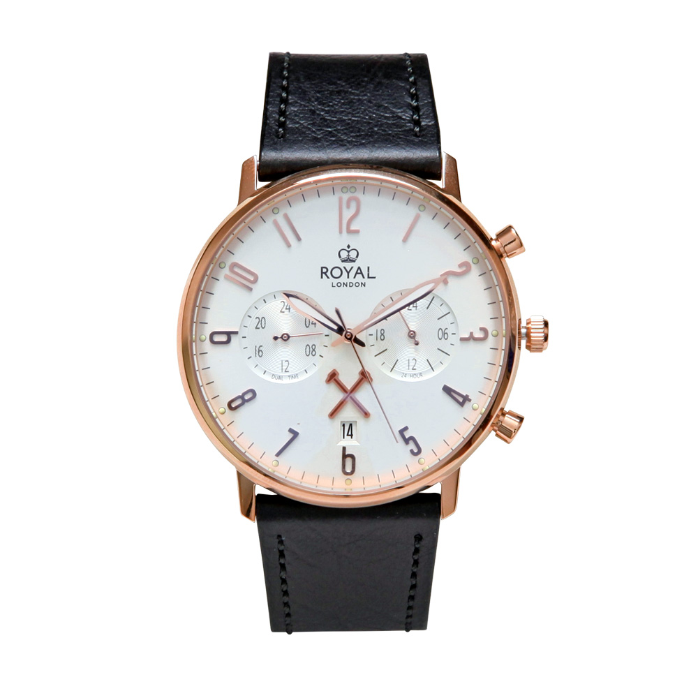 ROYAL LONDON 16 SS ROSE GOLD DUAL TIME LS WATCH