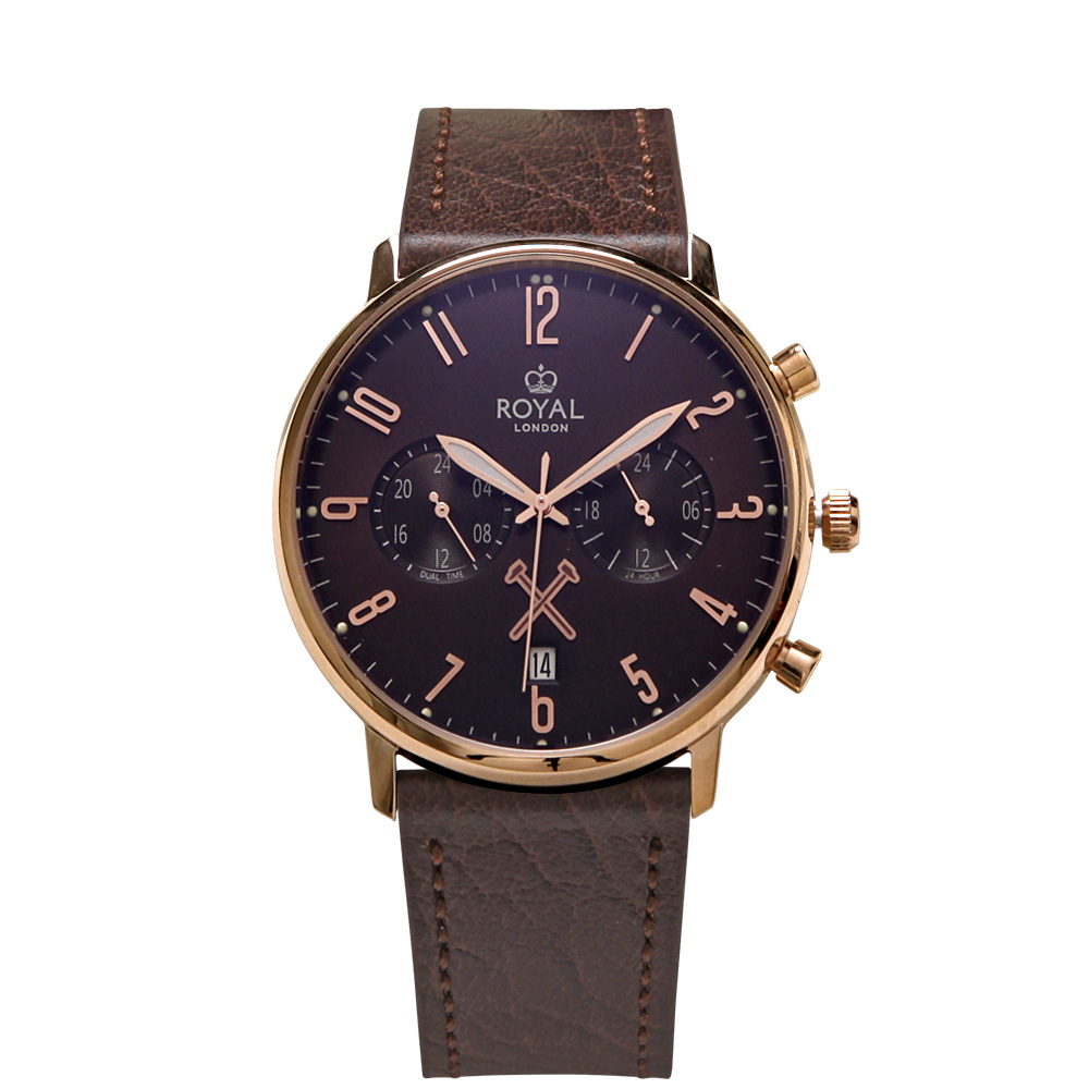ROYAL LONDON 17 SS ROSE GOLD DUAL TIME LS WATCH