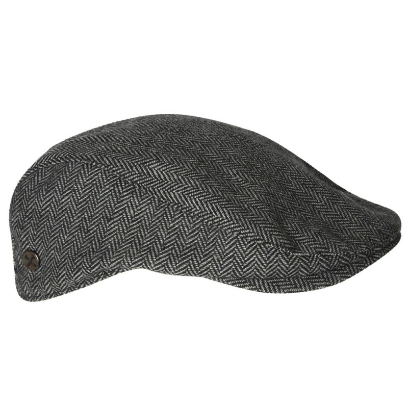 CLARET COLLECTION - GREY HERRINGBONE  FLAT CAP