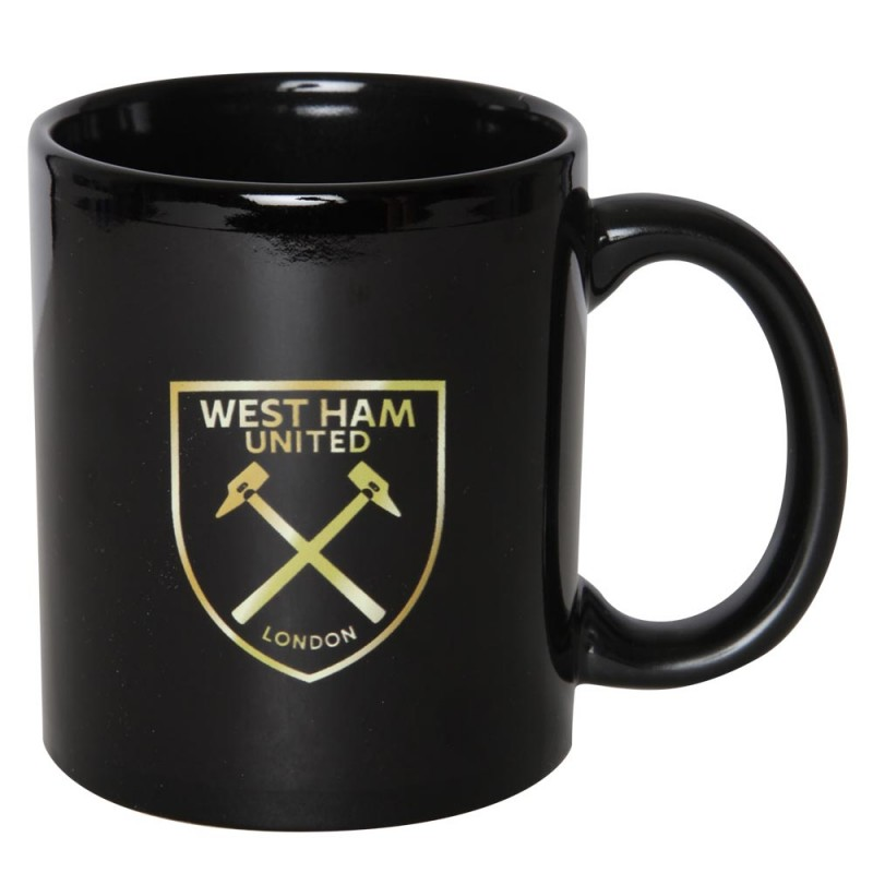 BLACK METALLIC GOLD CREST MUG
