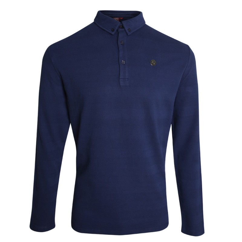 CLARET COLLECTION - NAVY L/S POLO