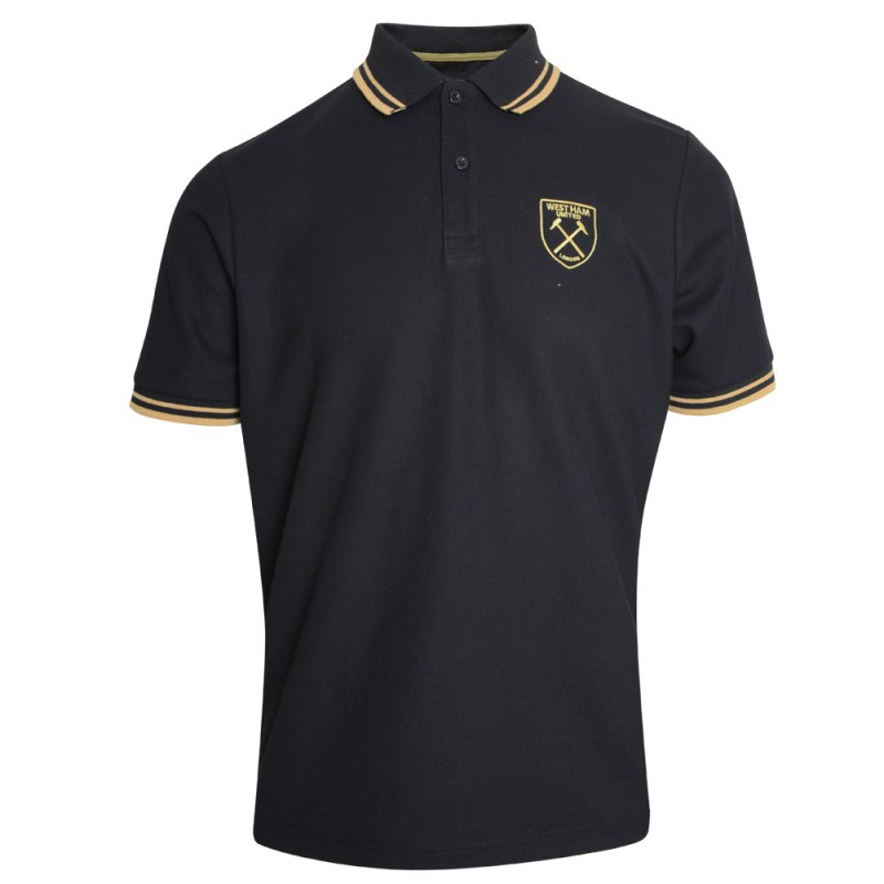 ADULT BLACK/CARAMEL CREST POLO
