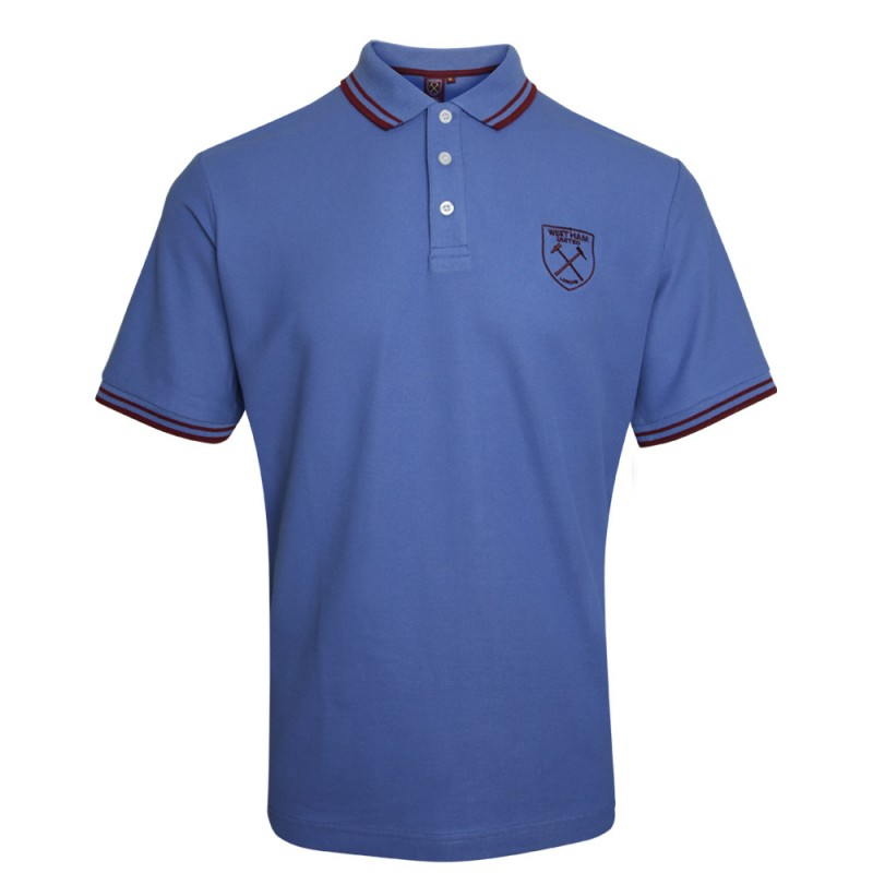 ADULT BLUE/CLARET CREST POLO