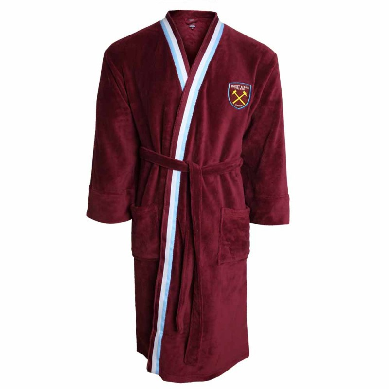 MENS CLARET STRIPED DRESSING GOWN